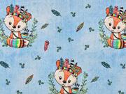 Jerseystoff Indianer Füchse Federn Jeanslook Digitaldruck, hellblau
