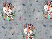 Jerseystoff Indianer Füchse Federn Jeanslook Digitaldruck, grau