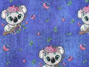 Jersey Stoff Koala Bären Schmetterlinge Jeanslook, dunkelblau
