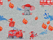 Sweatstoff Feuerwehr Elefanten Mäuse, rot grau meliert