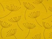 Dekostoff Pusteblumen Dandelions, ockergelb