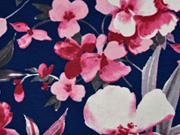 Viskosejersey Blumen Blätter, rosa dunkelblau