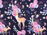 Sweatstoff Rehe Blumen Rosen, rosa dunkelblau