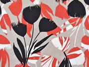 Viskose Leinen abstrakte Tulpen, schwarz taupe