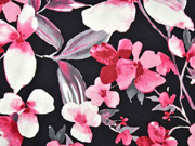 RESTSTÜCK 42 cm Viskosejersey Blumen Blätter, rosa schwarz