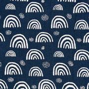 Musselin Baumwollstoff Regenbogen zweilagig, weiß dunkelblau