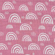 Musselin Baumwollstoff Regenbogen zweilagig, weiß dunkles  altrosa
