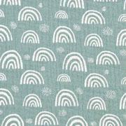 Musselin Baumwollstoff Regenbogen zweilagig, weiß dunkelmint