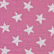 Musselin Baumwollstoff Sterne zweilagig, dunkles altrosa