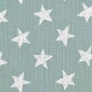 Musselin Baumwollstoff Sterne zweilagig, dunkelmint