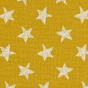Musselin Baumwollstoff Sterne zweilagig, ockergelb