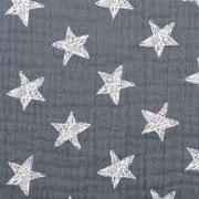 Musselin Baumwollstoff Sterne zweilagig, mittelgrau