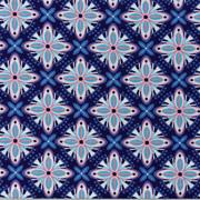 Baumwollstoff Mandalas Kreuzblume, hellblau dunkelblau