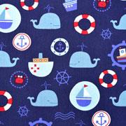 Baumwollstoff Wale Anker Boote, dunkelblau