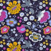 Baumwollstoff Blumen Ranken, dunkelblau