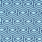 Baumwollstoff sechseck, dunkelblau hellblau