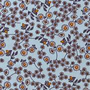 Baumwollstoff Blumenranken, ockergelb weiß hellblau