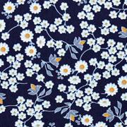 Baumwollstoff Blümchen, hellblau ockergelb dunkelblau