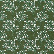 Baumwollstoff Zweige Blätter, dunkelgrün