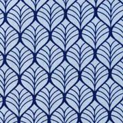 Baumwollstoff Blättermuster, dunkelblau hellblau
