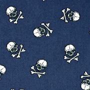 Baumwollstoff kleine Totenköpfe, weiß dunkelblau