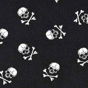 Baumwollstoff kleine Totenköpfe,weiß schwarz