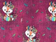 Jerseystoff Indianer Füchse Federn Jeanslook Digitaldruck, bordeaux