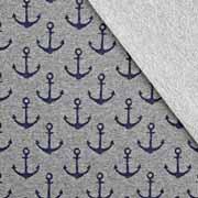 Sweatstoff French Terry mittlerer Anker, dunkelblau grau