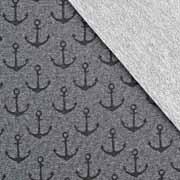 Sweatstoff French Terry mittlerer Anker, schwarz anthrazit