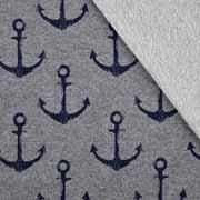 Sweatstoff French Terry großer Anker, dunkelblau grau