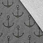 Sweatstoff French Terry großer Anker, schwarz anthrazit