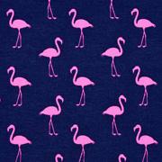 Jerseystoff Flamingos Digitaldruck, neonpink dunkelblau
