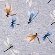 Jerseystoff Libellen, blau beige grau meliert