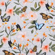 Jerseystoff Schmetterlinge Blumen, aprikot khakigrün blau grau meliert