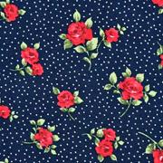 Viskosejerseystoff Rosen Blätter Pünktchen, rot dunkelblau