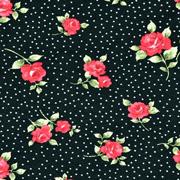 Viskosejerseystoff Rosen Blätter Pünktchen, rot schwarz