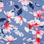 Viskosejerseystoff Blumen Punkte, weiß jeansblau
