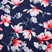 Viskosejerseystoff Blüten Pünktchen, weiß dunkelblau