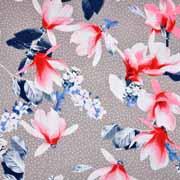 Viskosejerseystoff Blüten Pünktchen,weiß  beige
