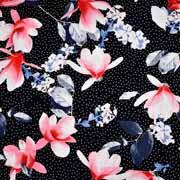 Viskosejerseystoff Blüten Pünktchen, weiß schwarz