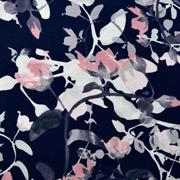 Viskosejerseystoff Rosen Blätter Ranken, altrosa dunkelblau