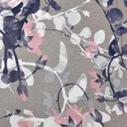 Viskosejerseystoff Rosen Blätter Ranken, rauchblau taupe