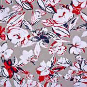 Viskose Jersey Stoff Blumen, rot taupe