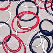 Viskose Jersey Stoff Kringel Kreise, rot dunkelblau beige