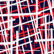 Viskose Jersey Stoff Linien Gitternetz, rot dunkelblau