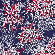 Viskose Jerseystoff mit Leinenanteil kleine Blätter, rot dunkelblau