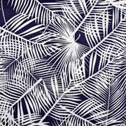 Baumwolle Viskose Webware tropische Blätter, weiss dunkelblau