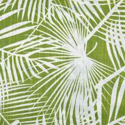 Baumwolle Viskose Webware tropische Blätter, weiss hellgrün