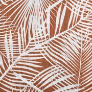 Baumwolle Viskose Webware tropische Blätter, weiss terracotta