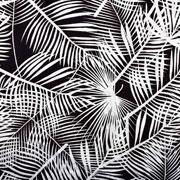 Baumwolle Viskose Webware tropische Blätter, weiss schwarz